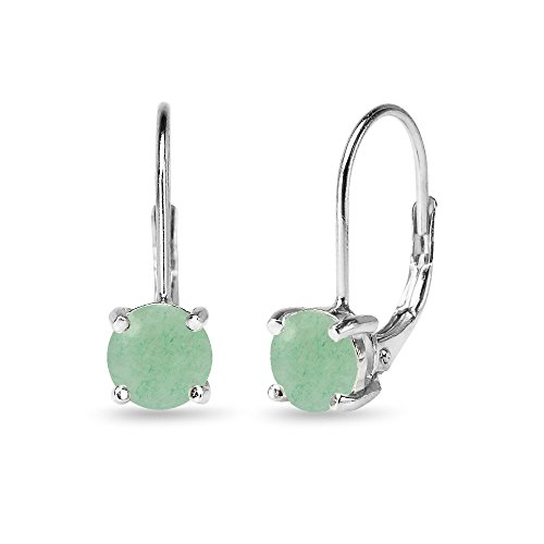 Sterling Silver Polished Cabochon Stone 6mm Round-cut Leverback Earrings