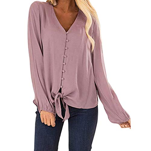GHrcvdhw Womens Slutty Blouse Button Sexy V Neck Full Sleeve Tie Knot On The Hem Solid Color Casual Loose Shirt Tops Pink