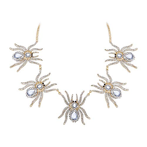 EVER FAITH Austrian Crystal Halloween Feast 5 Vivid Spiders Cool Animal Pendant Necklace Clear Gold-Tone -