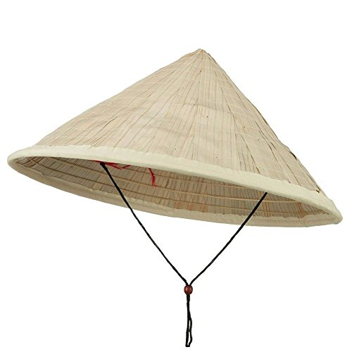 Hat Straw Rice (Coolie Hat Asian Japanese Large Straw Bamboo Sun Rice Farmer Costume Accessory)