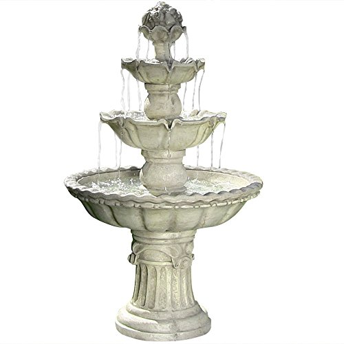 Sunnydaze 4-Tier Outdoor Water Fountain with Fruit Top - Large Outside Floor Waterfall Fountain Feature for Garden, Backyard, Patio, Porch, or Yard - White, 52 Inch Tall