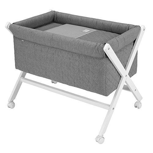 Small Baby Bed Cradle Set For Girls Newborn Sleeper Cribs Wood Mattress UNE Narrow Grey Rectangular Beds Boys Size 55X87X74 CM by Cambrass