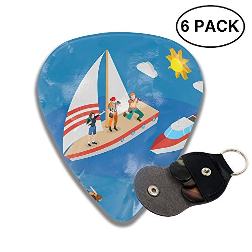 Celluloid Guitar Picks 3D Printed Yacht With Tourists Isometric Composition Best Guitar Bass Gift For Beginner
