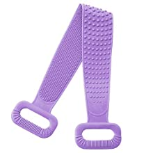Meidong Silicone Bath Body Brush, Exfoliating Lengthen Silicone Body Back Scrubber, Easy to Clean, Lathers Well, Eco Friendly, Long Lasting, Comfortable Massage for Shower(Purple)