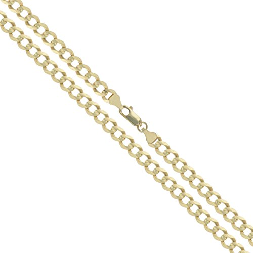(10k Yellow Gold Solid Curb Chain 3.2mm Link Necklace 20