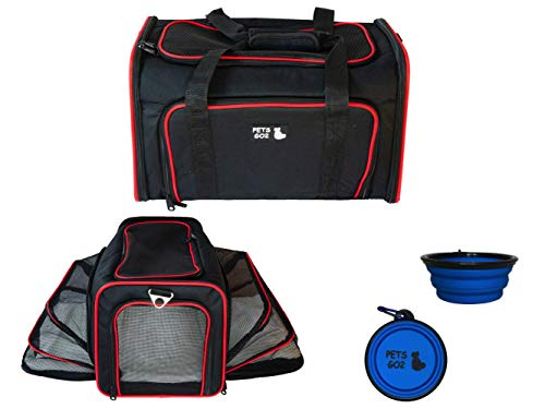 PETS GO2 Pet Carrier for Dogs & Cats | Best Airline-Approved Dog Travel Bag for Pet Safety & Security | Adjustable Carrier Size for a Small. Medium, or Large Dog, Cat, Bird, or Guinea Pig | Blk w/Red