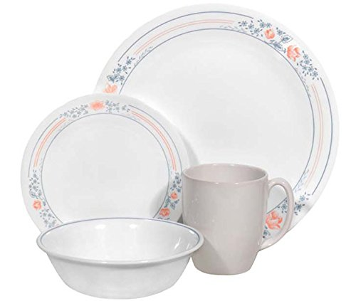 Corelle Livingware 16 piece Dinnerware Set, Service for 4, Apricot Grove (Enhancements Dinnerware Set)