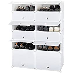 Honey Home Modular Shoe Rack Free Standing, 12 Cubes Plastic DIY Storage Organizer Portable Shoes Cabinet Bookcase with Doors, White