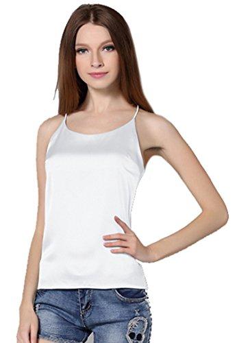DD UP Damen sexy Seide Leibchen Tank-Top White