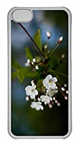 iPhone 5C Case, Personalized Custom White Cherry Flowers for iPhone 5C PC Clear Case