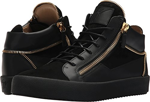 Giuseppe Zanotti Mens May London Mid Top Zipper Sneaker Black 5Ch0EvC4sx
