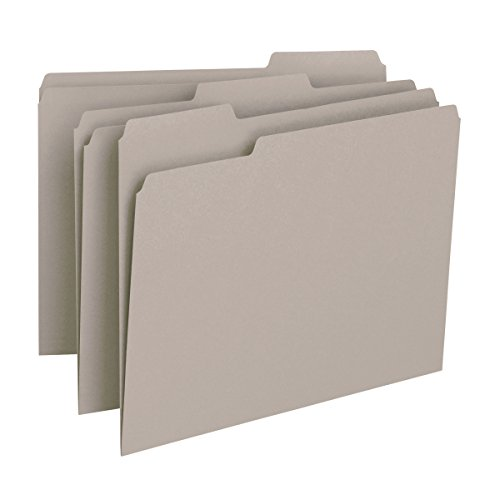 Side Tab Lateral Files - Smead File Folder, 1/3-Cut Tab, Letter Size, Gray, 100 per Box (12343)