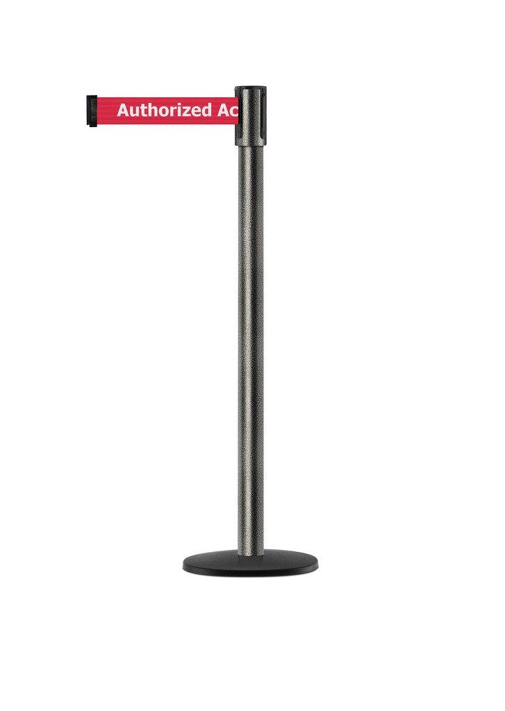Tensabarrier - 890B-33-64-64-STD-NO-RAX-C - silver vein post, 2'' wide, 7'6'' length red Authorized Access Only belt