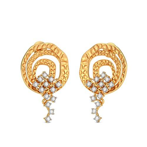 14K Or jaune 0,5ct tw White-diamond (IJ | SI) Pendants d'oreilles