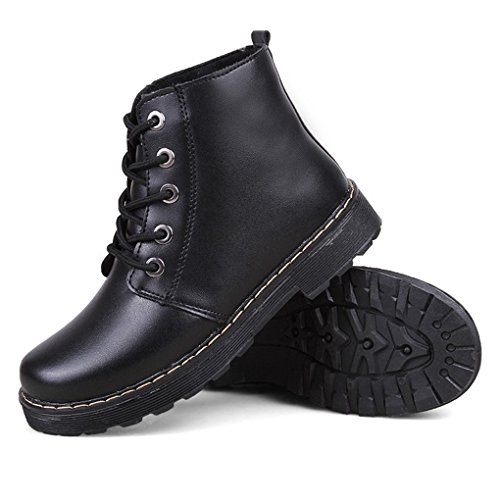 CYBLING Casual Western Women Low Heels Ankle Booties for Outdoor Hiking Walking Lace Up Shoes Black ThIIG