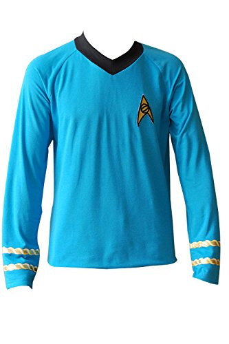mingL Captain Spock Shirt Cosplay Costume Blue Tee Hoodie Outfit Uniform (Captain Kirk Outfit)