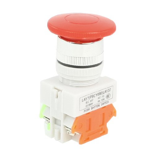 Uxcell AC 660V 10 Amp DPST Mushroom Red Cap Momentary Push Button (Mushroom Push Button Switch)
