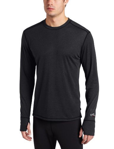 Hot Chillys Men's Geo Long Sleeve Crewneck Shirt, Black Heather, X-Large