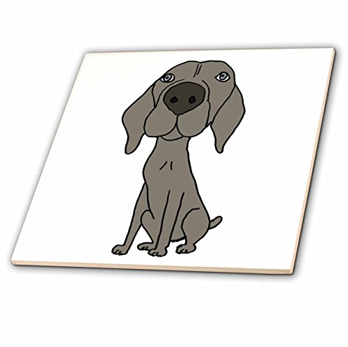 3dRose All Smiles Art Dogs - Cute Weimaraner Puppy Dog Cartoon - 6 Inch Ceramic Tile (ct_200123_2)