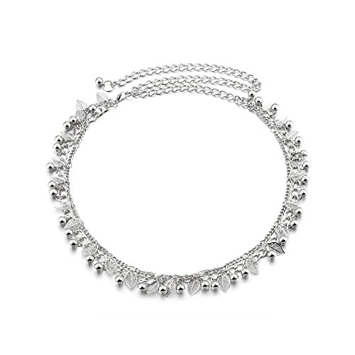 Torostra Womens Waistband Chain Belt New Fashion Plated Waist Chain Belt for Dress (Silver Double Chain Leaf)