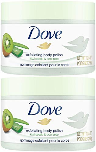 Dove Exfoliating Body Polish, Kiwi Seeds & Cool Aloe, 10.5 Ounce (Pack of 2) by Dove