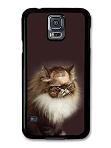 AMAF ? Accessories Bald Grumpy Funny Cat case for Samsung Galaxy S5