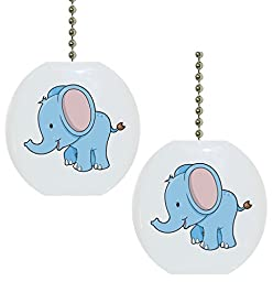 Set of 2 Baby Elephant Big Ears Solid Ceramic Fan Pulls