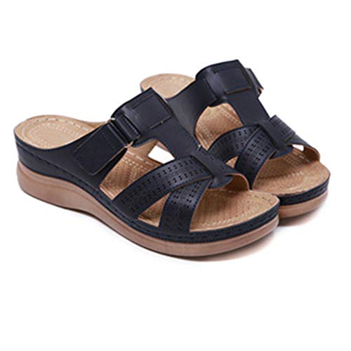 SHIBEVER PU Leather Slipper Summer Comfortable Vintage Casual Beach Open Toe Slip on Mules Wedge Sandals