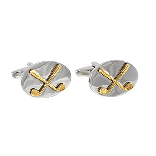 (MENDEPOT Novelty Rhodium and Gold Plated Bi-Tone Oval Golf Club Cufflinks with Box)