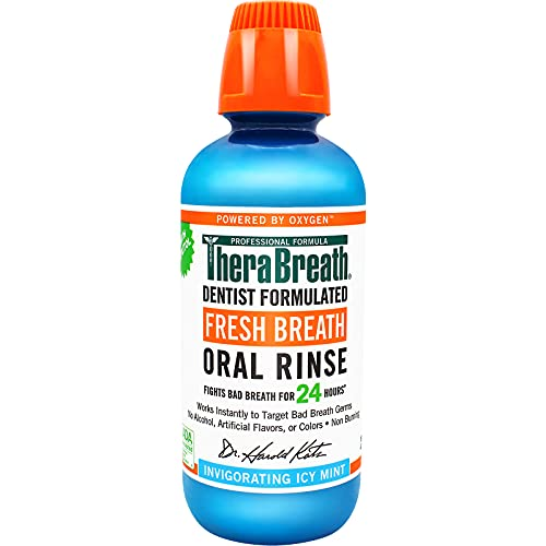 TheraBreath Fresh Breath Dentist Formulated 24-Hour Oral Rinse, Icy Mint, 16 Ounce (Pack of 2)