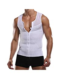 Vevarble Mens Slimming Body Shaper Compression Shirt Vest Waist Trainer Shapewear