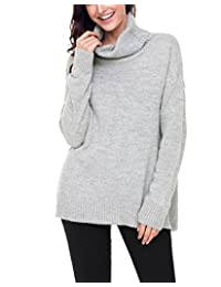 Brcus Women Knit Cowl Neck Casual Pullover Sweater Winter Warm Long Sleeve Jumper Tops