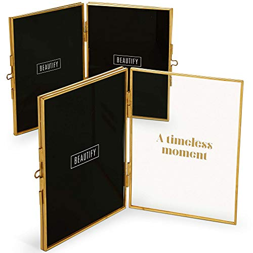 Beautify Double Folding Picture Frame with Gold Brass Metal Frame 5 X 7
