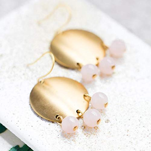 (hongnguyen Golden Brass and Pink Quartz Chandelier Earrings, Pink Quartz Earrings, Gold and Pink Earrings)
