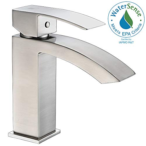 ANZZI Revere Single Hole Single Handle Low-Arc Bathroom Sink Faucet in Commercial Brushed Nickel | Vessel Basin Sinks Waterfall Deck Mounted cUPC Lavatory Faucet | Valve included | ()