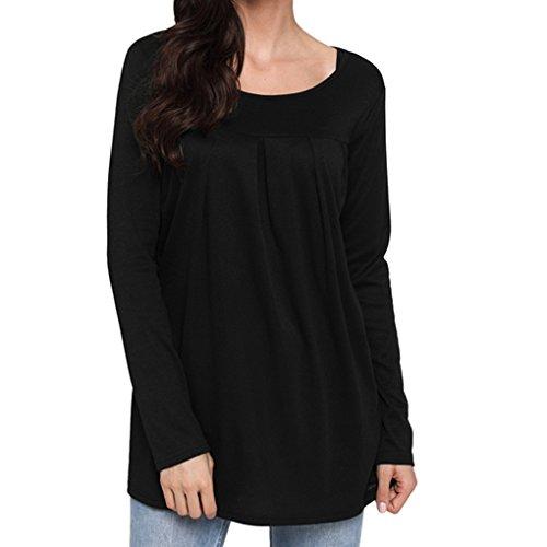 Masterein Femmes col Rond Manches Longues T-Shirt de Couleur Solides Filles Tops Sweatshirt Casual noir