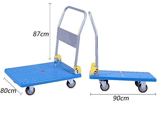Zehaer Portable Trolley, ZGL Trolley Multifunction Silent Flatbed Truck 4 Rounds Trolley Handling Trolley Pull Goods Trailer Light Trolley Hand Car (Size : S) (Size : Large) by Zehaer (Image #2)