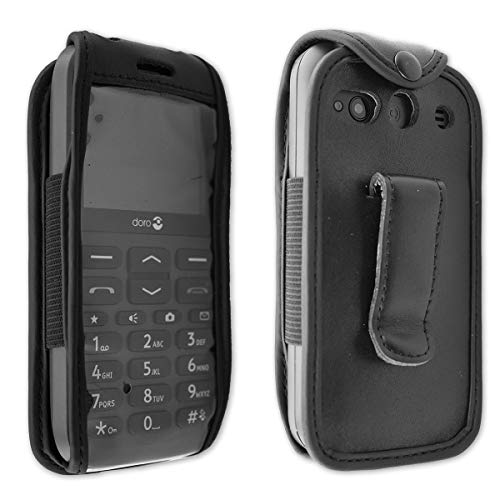 caseroxx Leather-Case with Belt Clip for Doro 1370/1372 Made Off Real Leather, Mobile Phone Cover in Black