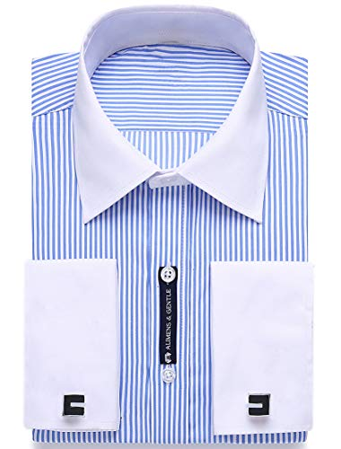 Alimens & Gentle French Cuff Regular Fit Dress Shirts (Cufflink Included) (15.5