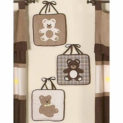 Sweet Jojo Designs Chocolate Teddy Bear Wall Hanging (Handcrafted Plush Teddy Bear)