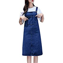 Women's Casual Strap Denim Pinafore Bib Overall A Line Dress with Pockets