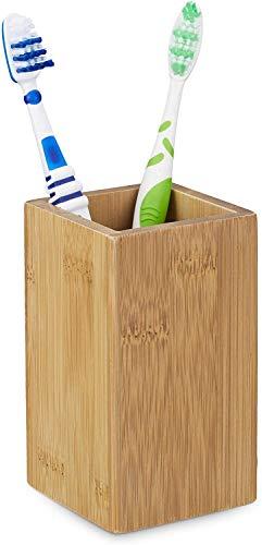 Relaxdays – 10020226 Portacepillos bambú Rectangular, diseño Natural, Medidas: 11,5 x 6,5 cm Vaso para cepillos de Dientes de bambú, Rectangular, bambú, 6.5 x 6.5 x 11.5 cm