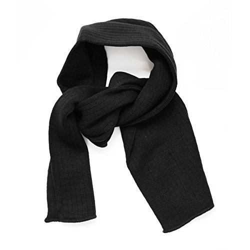 SANREMO Unisex Kids Ribbed Knitted Warm Winter Outdoor Scarf Shawl (Black)