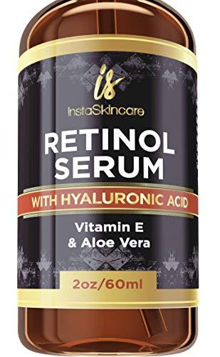Retinol serum for face (2oz) with Hyaluronic Acid + Vitamin A and E + Aloe Vera Anti aging moisturizer - Fade Dark Spots - Clinical Strength Formula