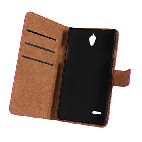 GUANHAO Cowskin Slim Wallet Card Pouch Flip Leather Etui Stand Case Cover For Huawei Ascend G700 Black]()