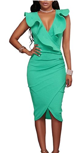 Dress Party 1 Ruffle Tight Women's V Wrap Dress Jaycargogo Bodycon Neck Plain Club Midi On71q8qfU