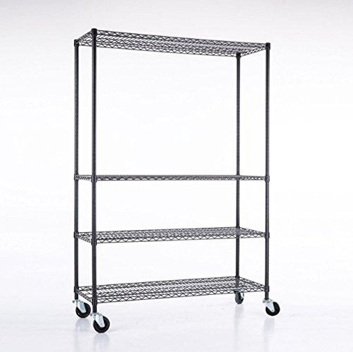 48' Wide 3 Shelf (Shelving Wire 4 Tier Organizer Rack Wide Duty Heavy Metal Shelf Adjustable 82