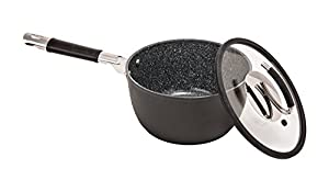 Vesuvio Ceramic Coated Nonstick Sauce Pan, 3 Quart | Heat Resistant Silicone Handle | Durable, High Heat Aluminum Base with No PTFE, PFOA, Lead or Cadmium | Oven & Dishwasher Safe | Made In Italy