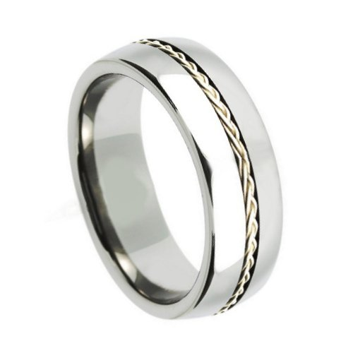 10 Size Tungsten Carbide Grooved with Braided Sterling Silver Insert 8mm Wedding Band Ring