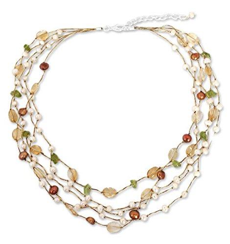 NOVICA Multi-Gem Citrine White Cultured Freshwater Pearl Silver Plated Beaded Necklace 'Awakening'